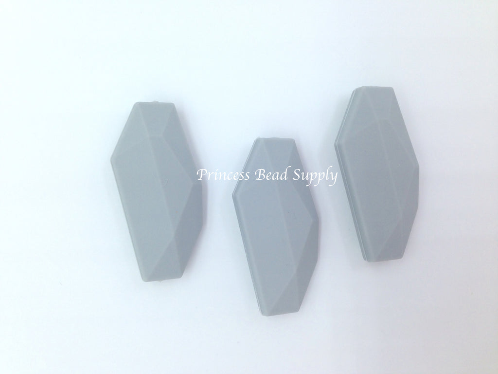 Light Gray Salix Leaf Silicone Beads
