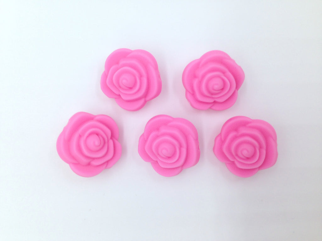 Pink Mini Silicone Rose Flower Beads