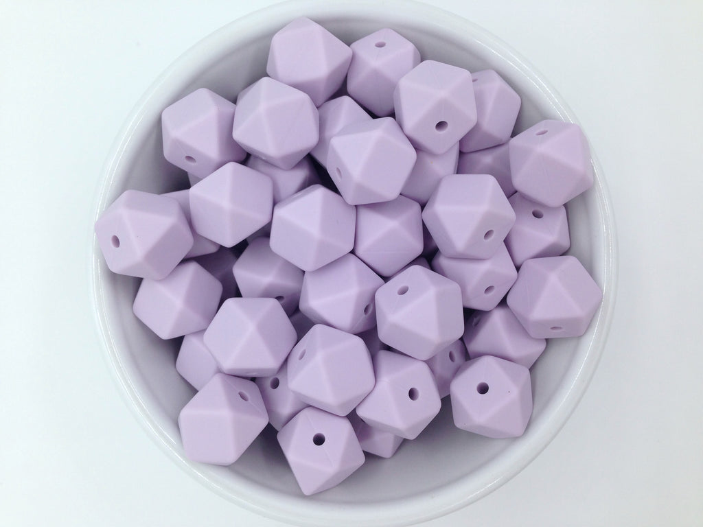 14mm Lavender Mist Hexagon Silicone Teething Beads