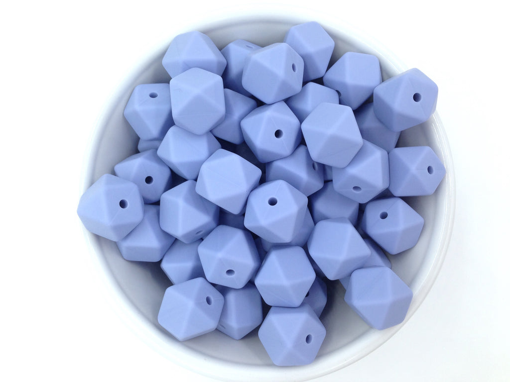 14mm Tranquility Blue Hexagon Silicone Teething Beads