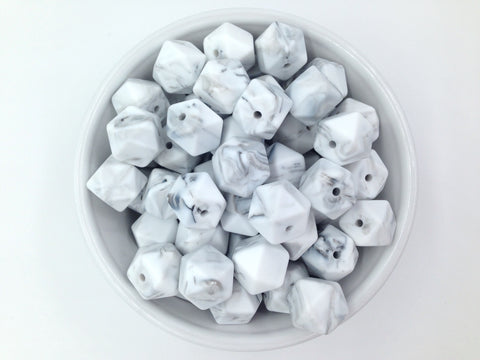 14mm Marble White Hexagon Silicone Teething Beads