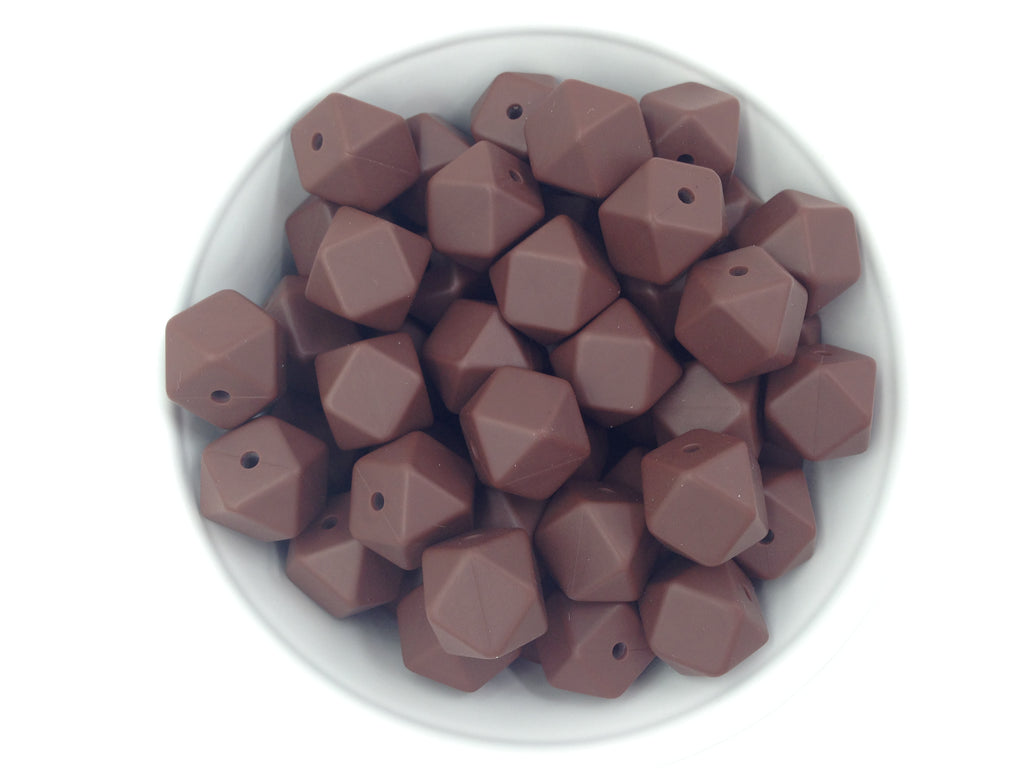 14mm Brown Hexagon Silicone Teething Beads