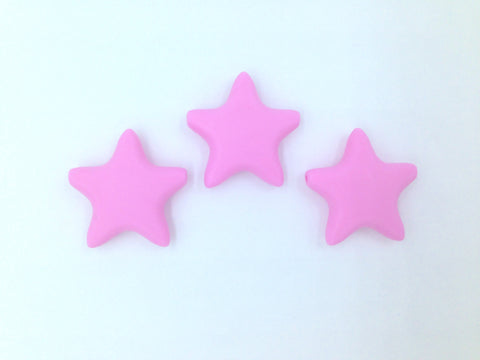 Light Pink Star Silicone Teething Beads