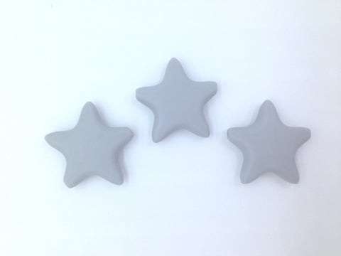 Light Gray Star Silicone Teething Beads