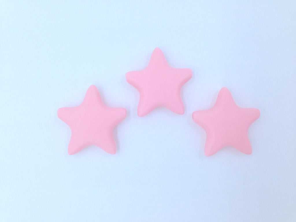 Pink Quartz Star Silicone Teething Beads