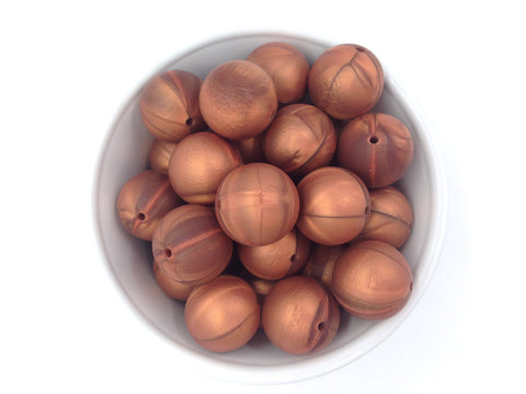 22mm Metallic Copper Round Silicone Beads
