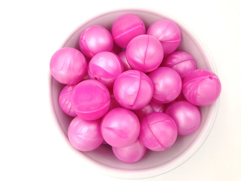 22mm Metallic Pink Round Silicone Beads