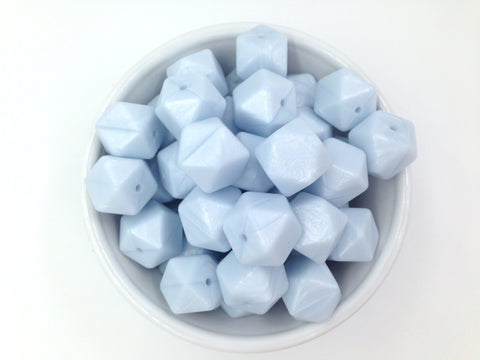 Baby Blue Pearl Hexagon Silicone Teething Beads