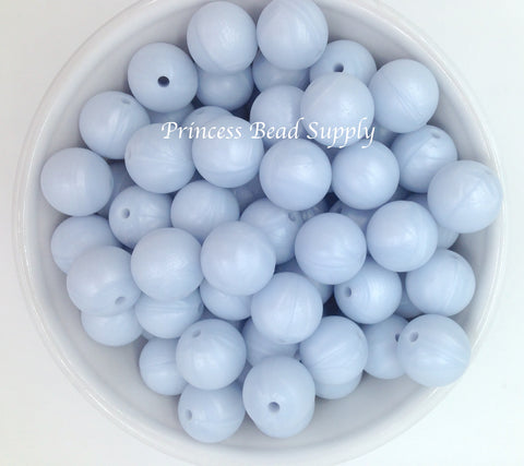 15mm Baby Blue Pearl Silicone Beads