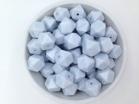14mm Baby Blue Pearl Mini Hexagon Silicone Beads