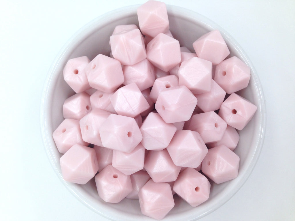 14mm Powder Pink Pearl Mini Hexagon Silicone Beads