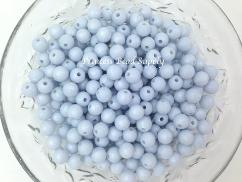 9mm Baby Blue Pearl Silicone Beads