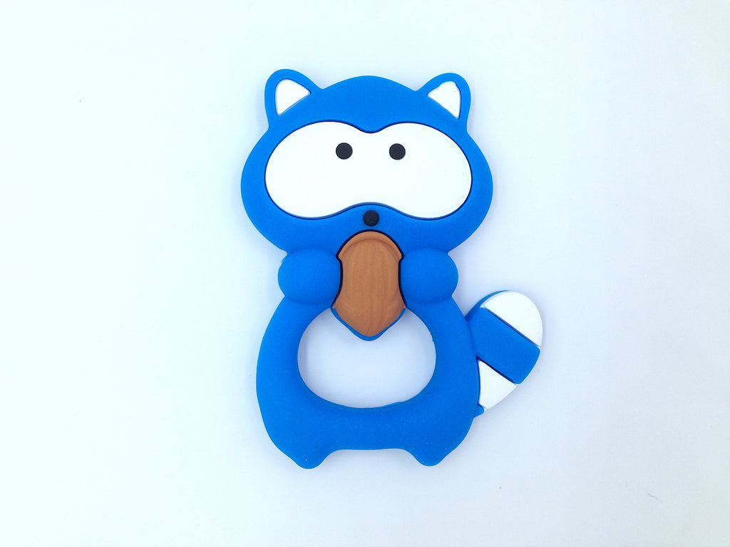 Sky Blue Raccoon Silicone Teether
