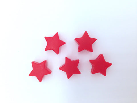 5 Red Mini Star Silicone Beads