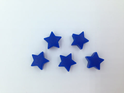 5 Royal Blue Mini Star Silicone Beads