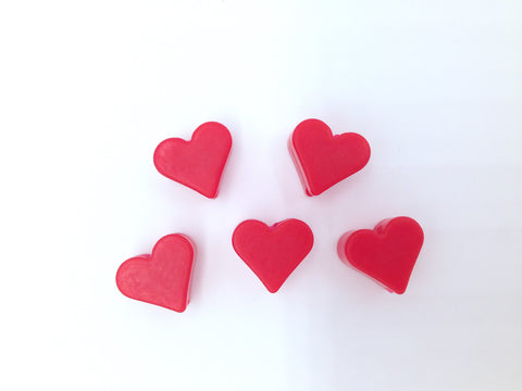 Red Mini Heart Silicone Beads