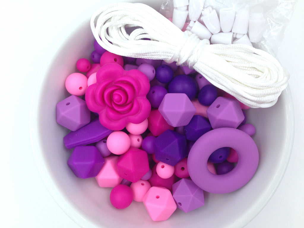 Shades of Pink and Purple Silicone Bulk Beads