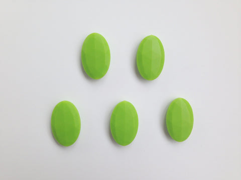 Green Oval Flat Silicone Beads