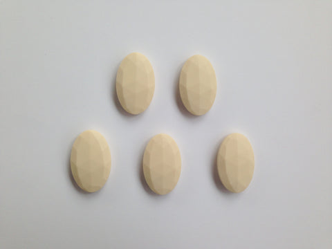 Beige Oval Flat Silicone Beads