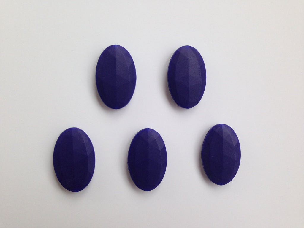Navy Blue Oval Flat Silicone Beads