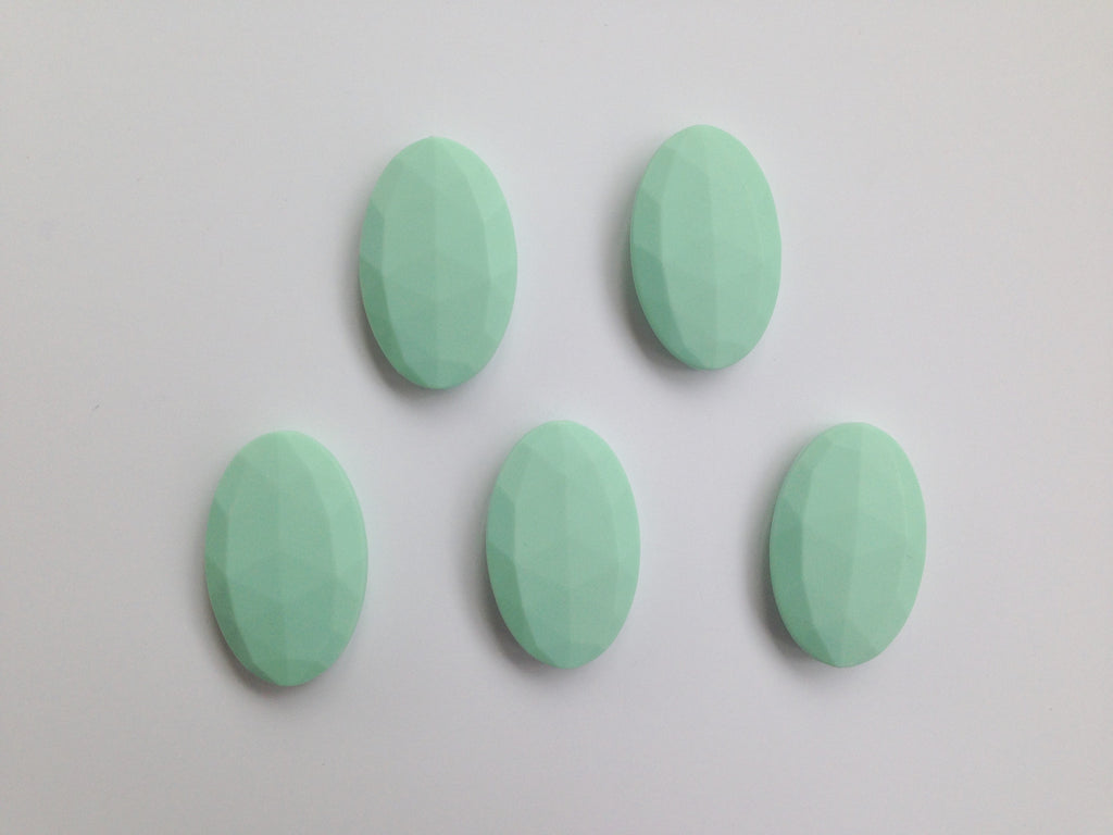 Mint Oval Flat Silicone Beads