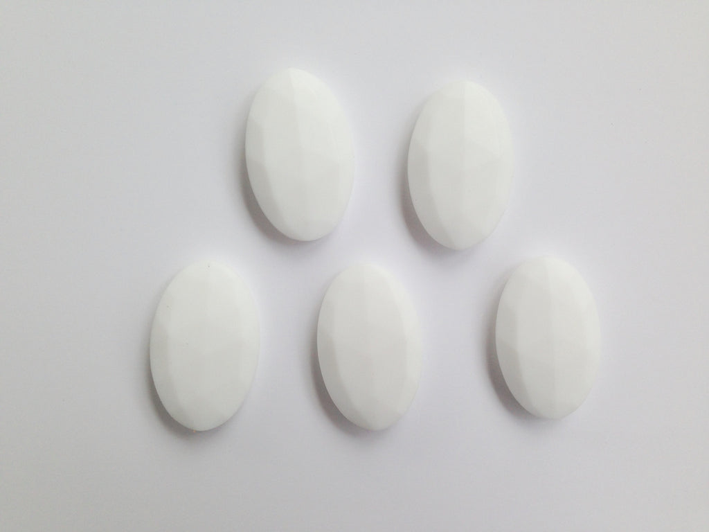 White Oval Flat Silicone Beads