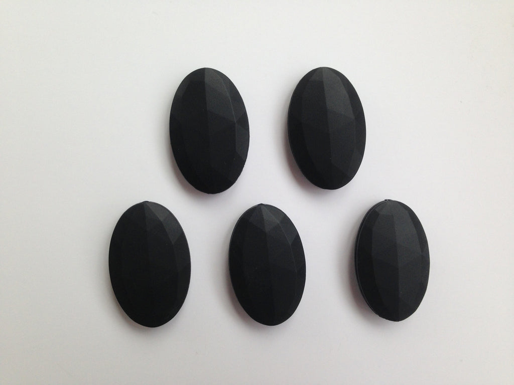 Black Oval Flat Silicone Beads