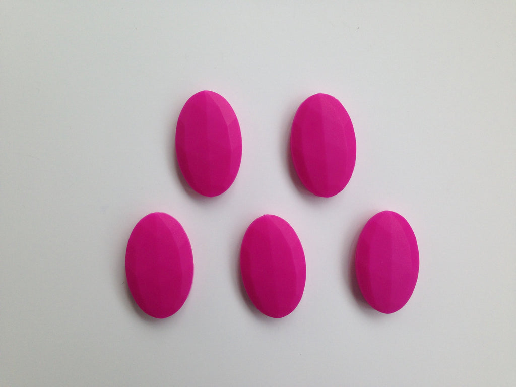 Hot Pink Oval Flat Silicone Beads