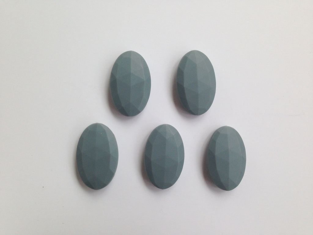 Gray Oval Flat Silicone Beads
