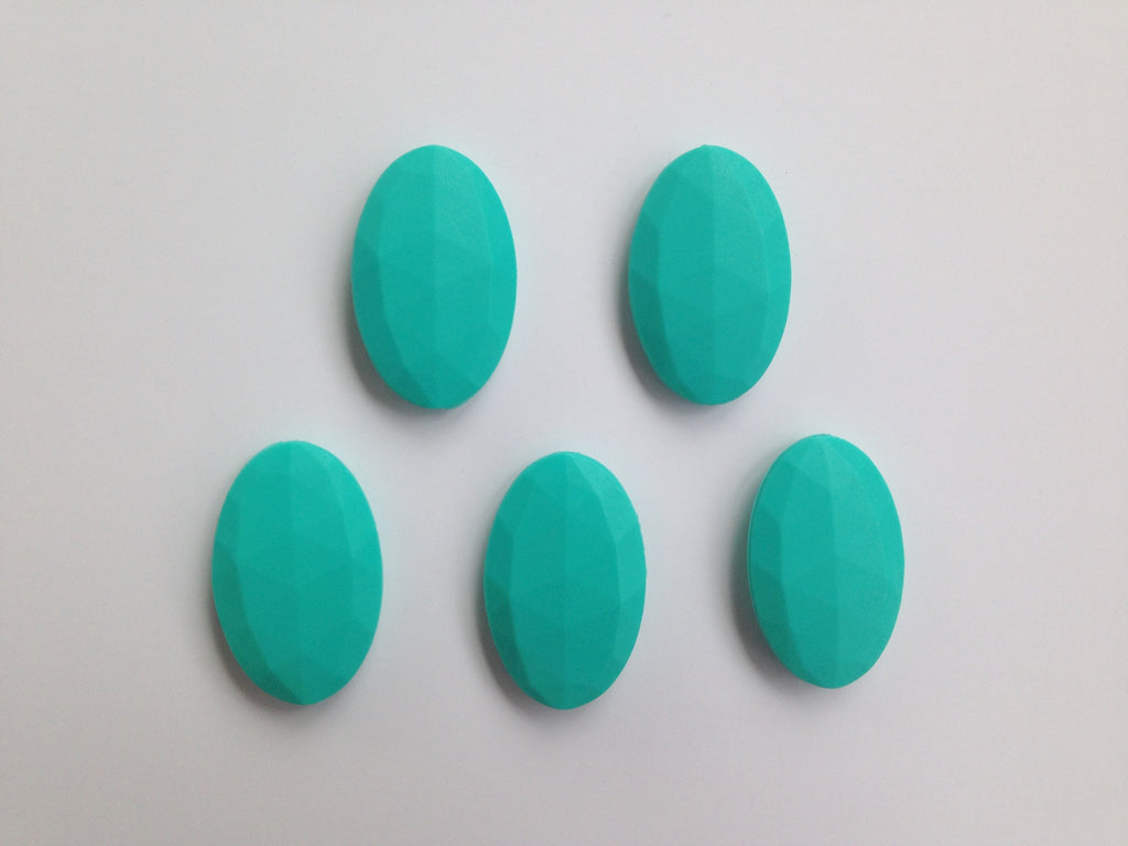 Turquoise Oval Flat Silicone Beads