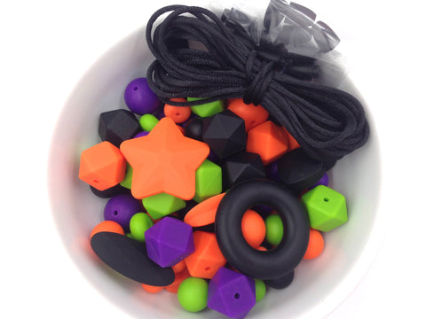 Orange, Black, Purple & Green Halloween Silicone Bulk Beads