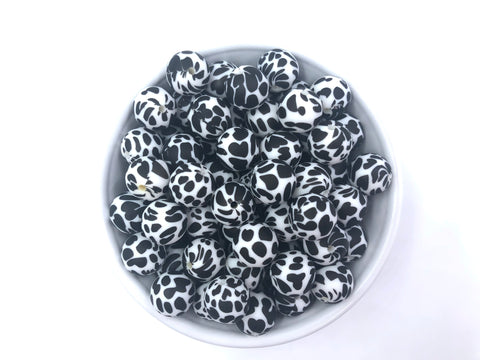 Cow Print Silicone Beads - Dalmatian Printed Beads--15mm