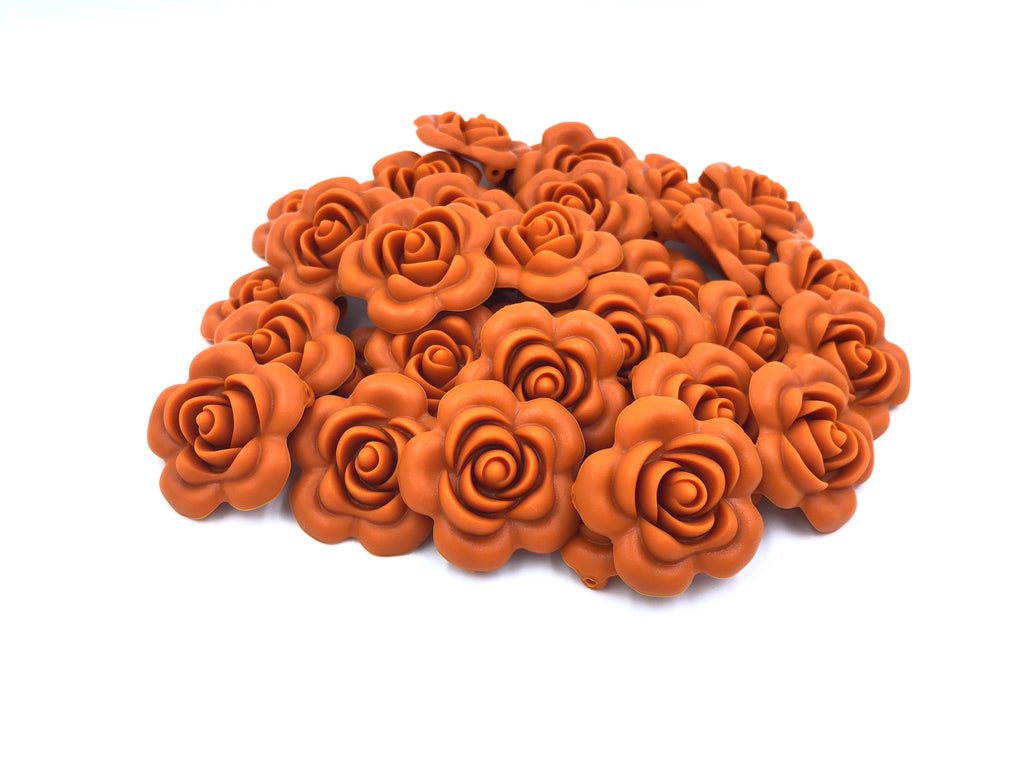 40mm Pumpkin Silicone Flower Bead