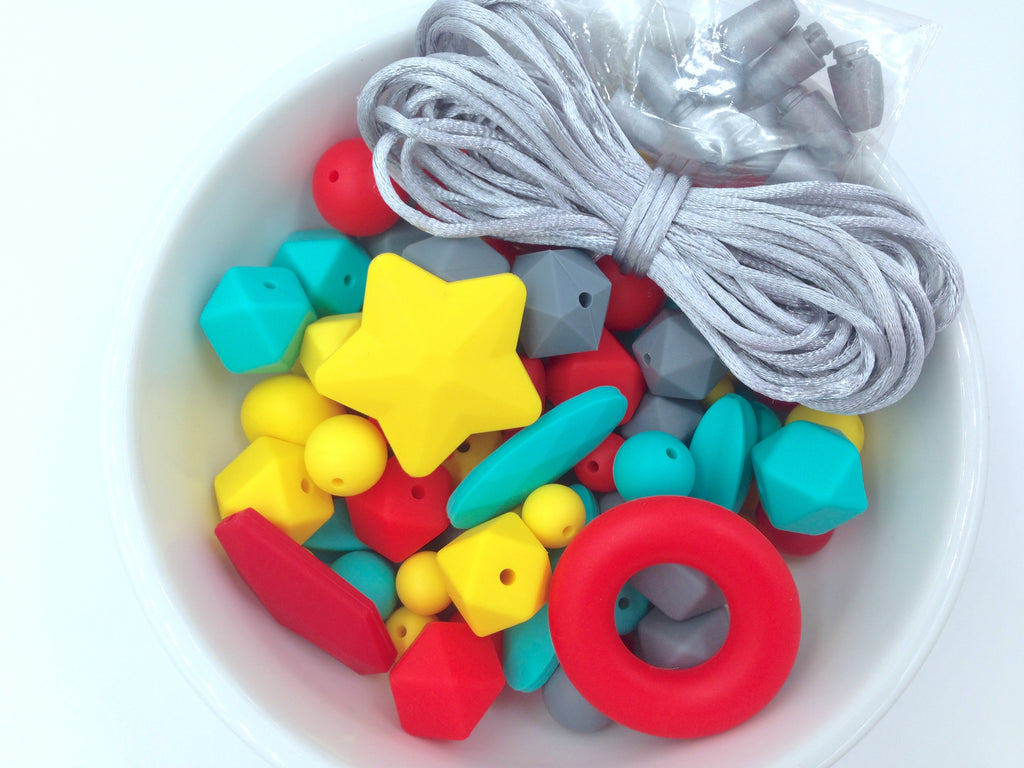 Red, Turquoise, Yellow & Gray Silicone Bulk Beads