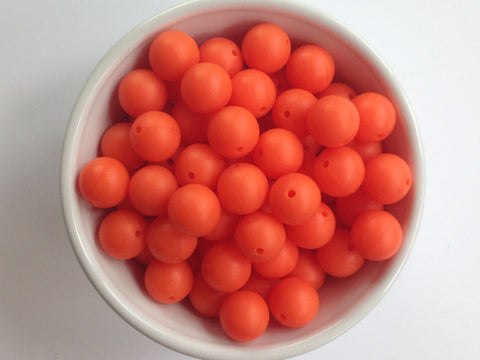 15mm Fire Orange Silicone Beads
