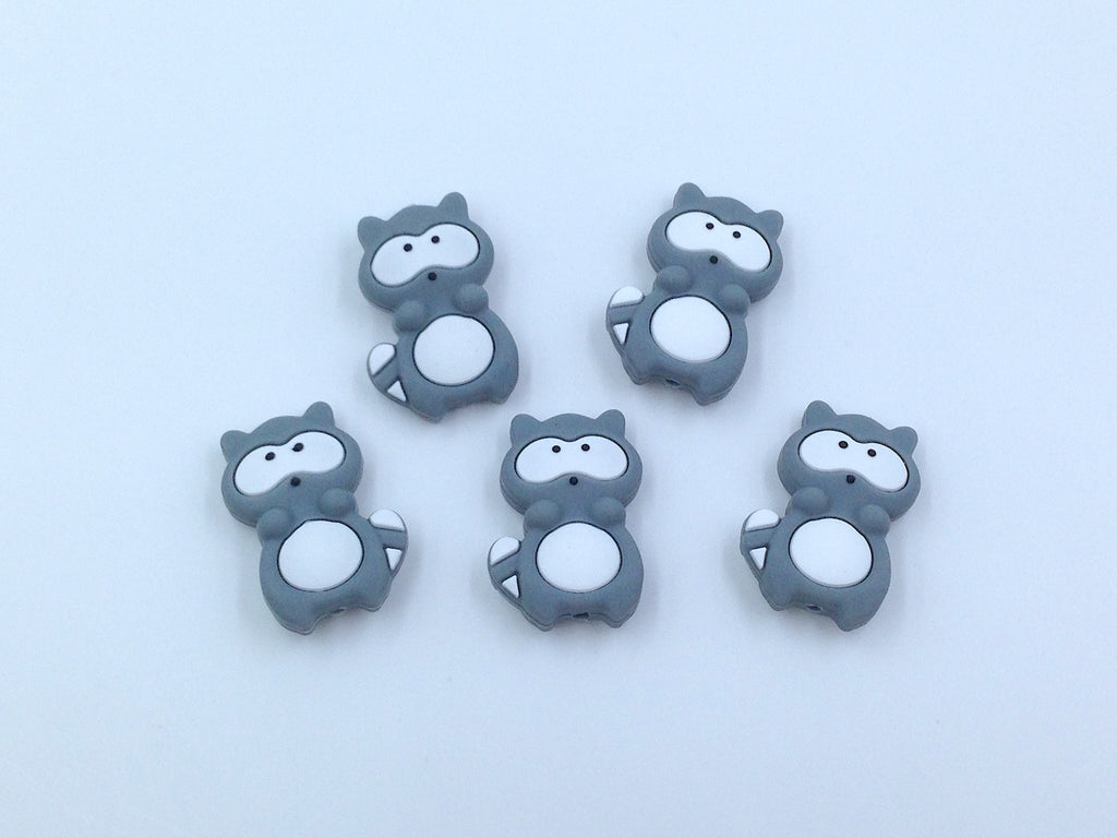 Gray Raccoon Silicone Beads