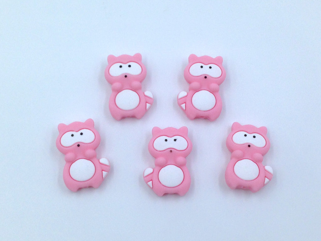 Pink Raccoon Silicone Beads