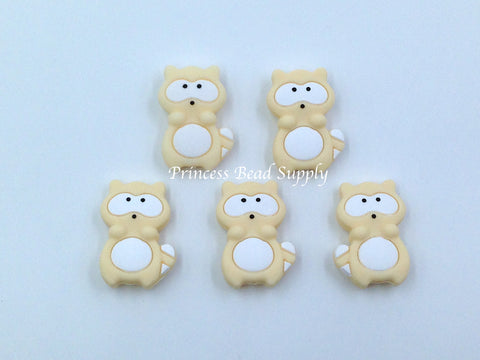 Beige Raccoon Silicone Beads