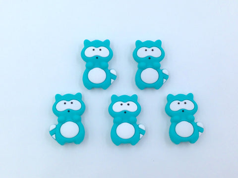 Turquoise Raccoon Silicone Beads