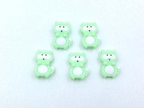 Mint Raccoon Silicone Beads