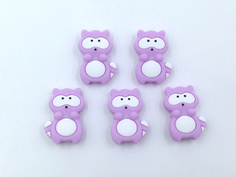 Sweet Lilac Raccoon Silicone Beads