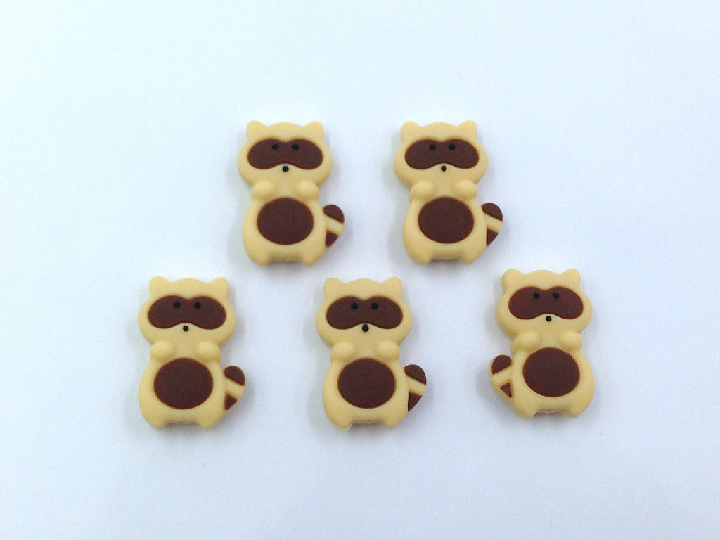 Brown Raccoon Silicone Beads