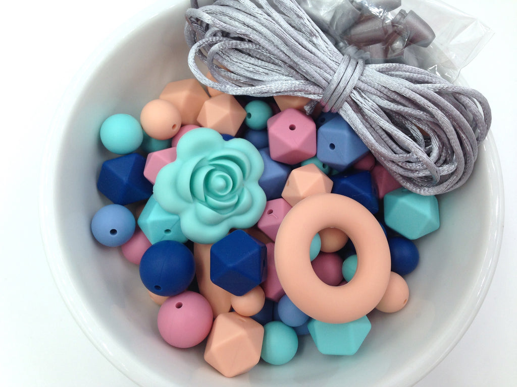 Shades of Blue, Peach and Dusty Rose. Bulk Silicone Bead Mix