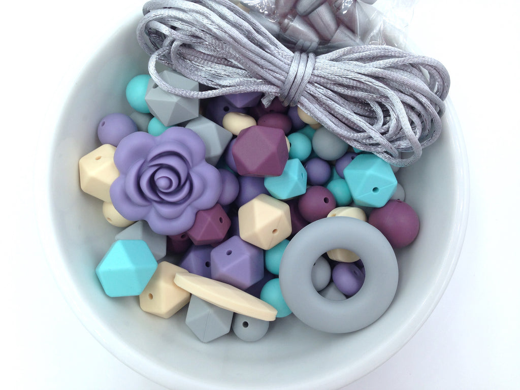 Beige, Light Gray, Cool Caribbean, Light Plum and Tropical Lilac Bulk Silicone Bead Mix