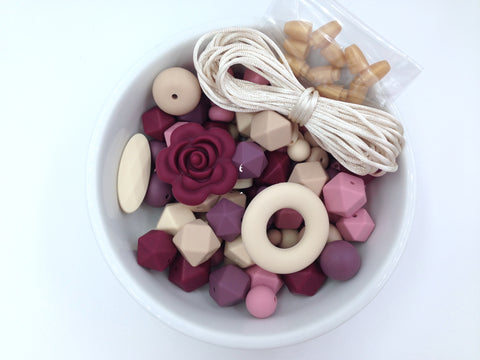 Dusty Rose, Light Plum, Wine, Beige and Oatmeal Bulk Silicone Bead Mix