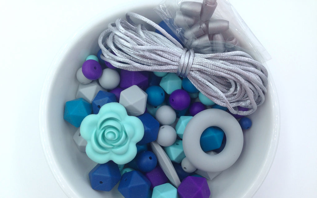 Shades of Blue, Purple and Light Gray Bulk Silicone Bead Mix