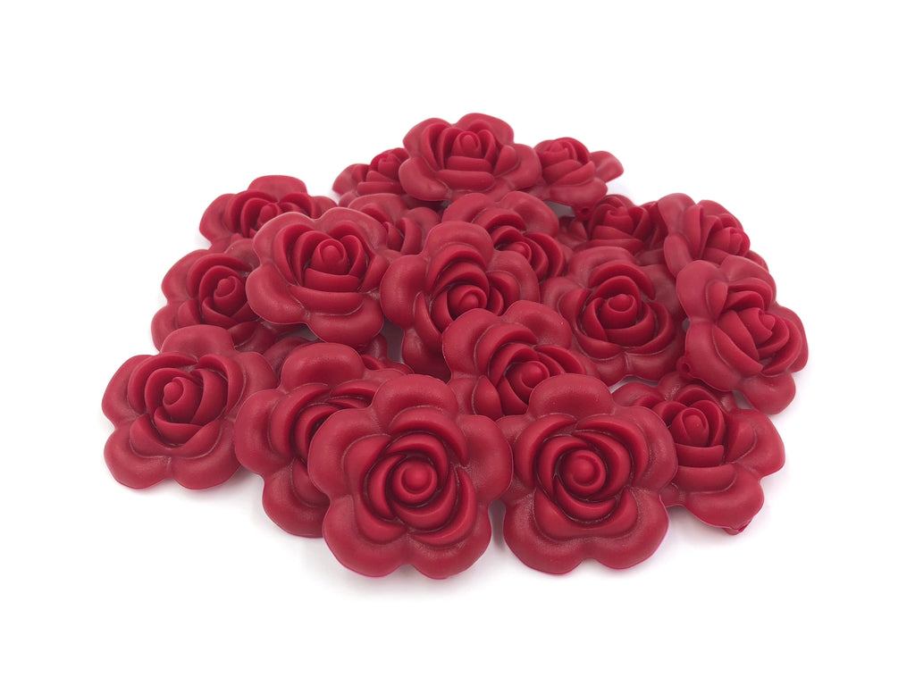 40mm Cranberry Silicone Flower Bead