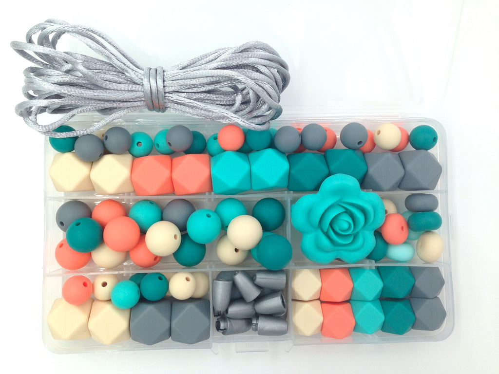 Turquoise, Emerald, Salmon, Beige and Gray Silicone Deluxe Necklace Kit