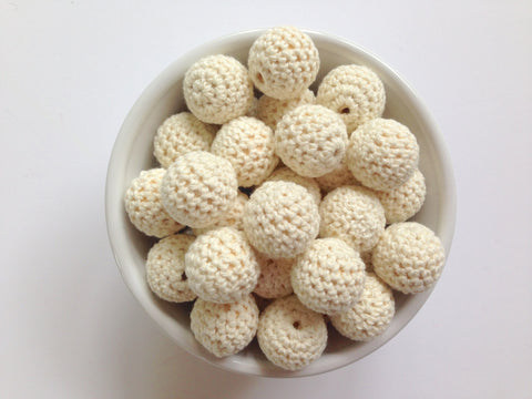 Beige Crochet Wood Beads