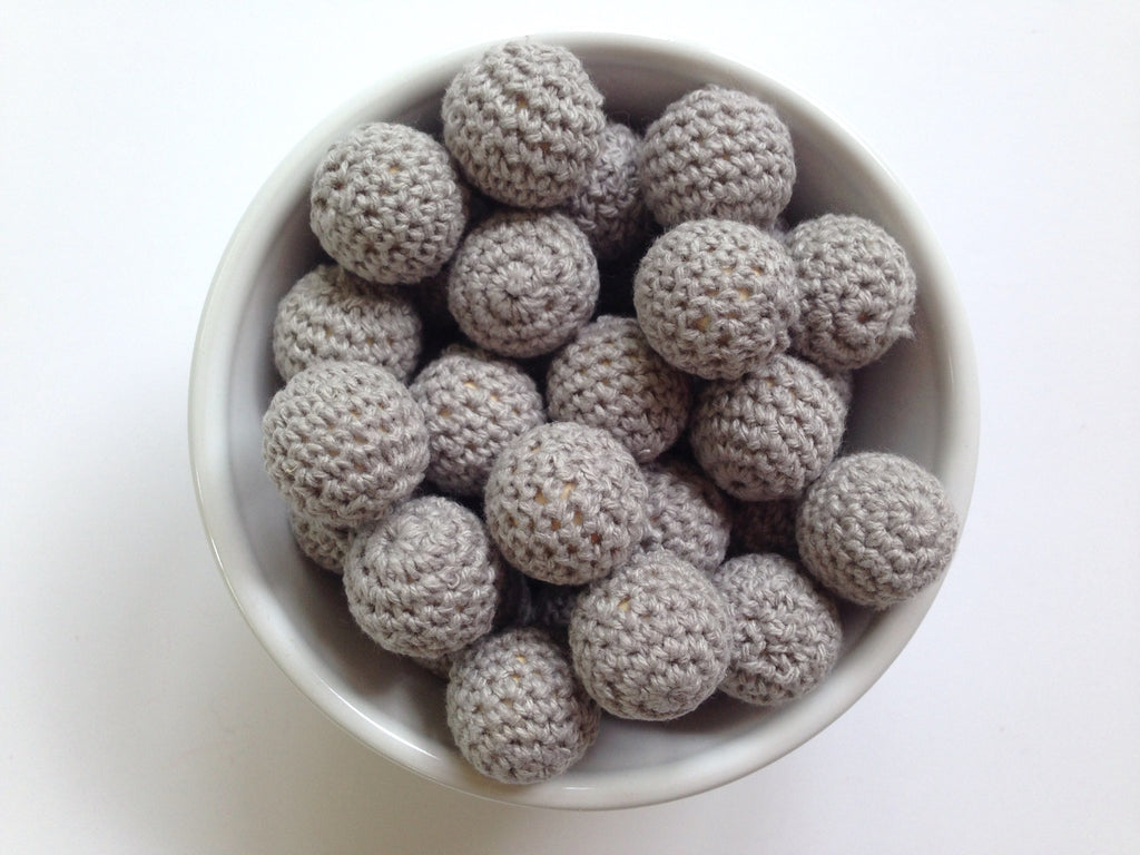 Gray Crochet Wood Beads